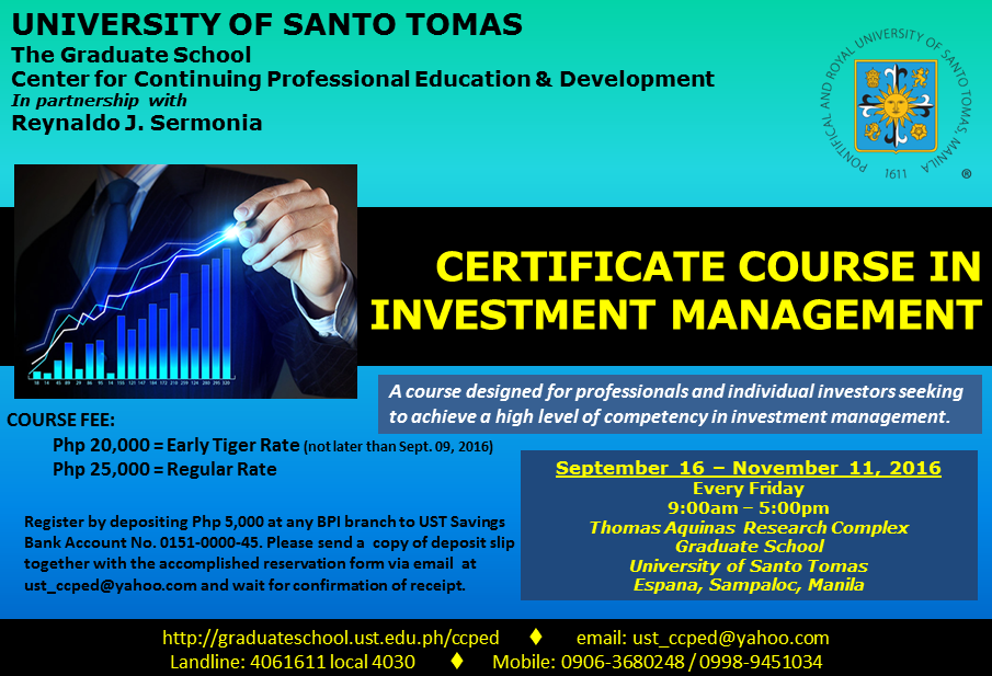 POSTER - Certificate Course in Investment Management FULL COLOR for PDI