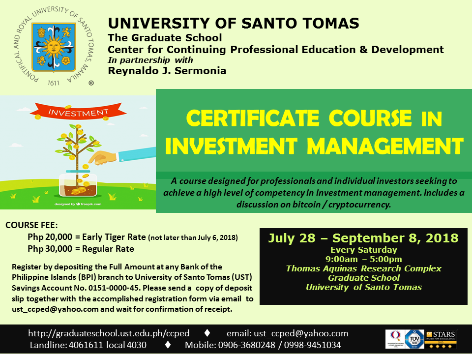 POSTER - UST Certificate Course in Investment Management July 2018