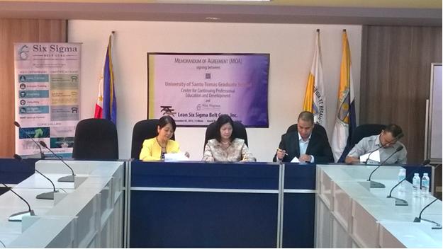 L-R: Assoc. Prof. Jocelyn F. Agcaoili, MHPEd, MSPT (Director, USTGS CCPED); Prof. Marilu R. Madrunio, PhD (Dean, USTGS); Engr. Alberto L. Villegas, Jr. (General Manager, SSBGI); and Mr. Jemar B. Almario (SSBGI).