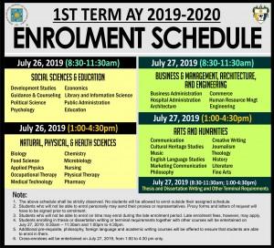 enrolment sched 1st term 2019-2020